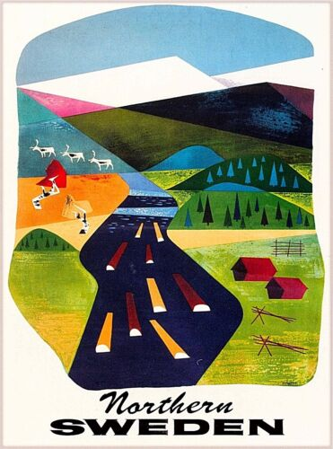 Northern Sweden Scandinavia Vintage Swedish Travel Advertisement Poster Print