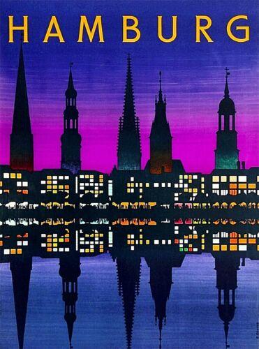 Hamburg Germany Cityscape Night Vintage Travel Advertisement Art Poster Print