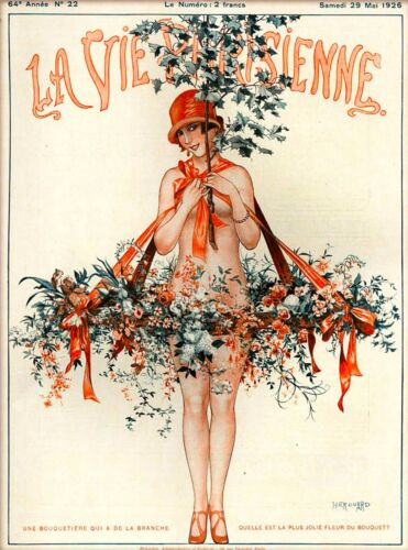 1920s La Vie Parisienne Flowers Branch Girl France French Travel Poster Print