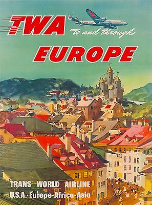 TWA To and Through Europe Vintage Airline Travel Art Poster Advertisement