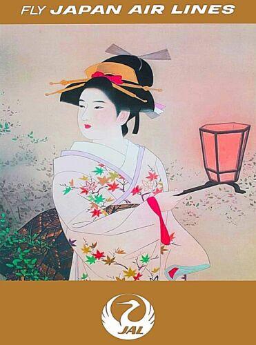 Fly Japan Air lines JAL Geisha Vintage Travel Advertisement Poster Print