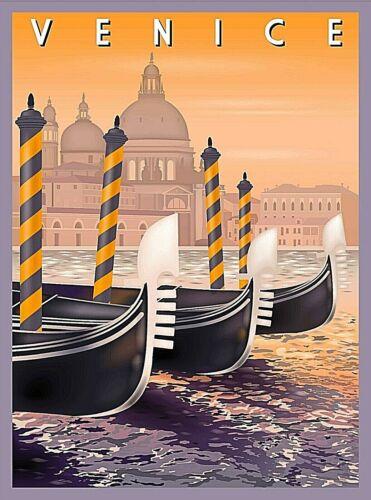 Venice Italy Gondolas Retro Travel Advertisement Art Poster Print