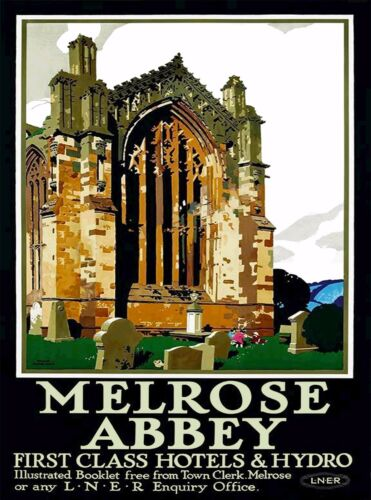 Melrose Abbey Scotland Great Britain Vintage Travel Advertisement Poster Print