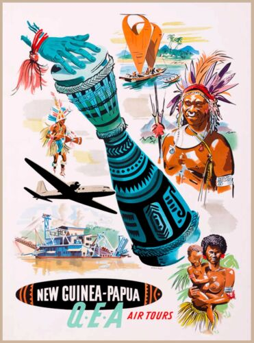 New Guinea Papua Air South West Island Vintage Travel  Advertisement Art Poster
