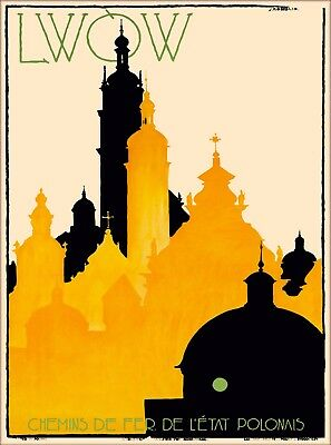 LWOW LVIV Ukraine Poland Vintage Russian Travel Advertisement Art Poster