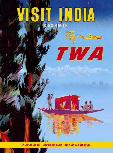 Visit India Kashmir Fly TWA Vintage Airline Travel Advertisement Poster Art