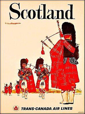 Scotland Scottish Trans Canada Vintage Travel Advertisement Art Poster Print