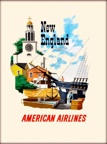 New England American Airlines United States Vintage Travel Poster Art Print