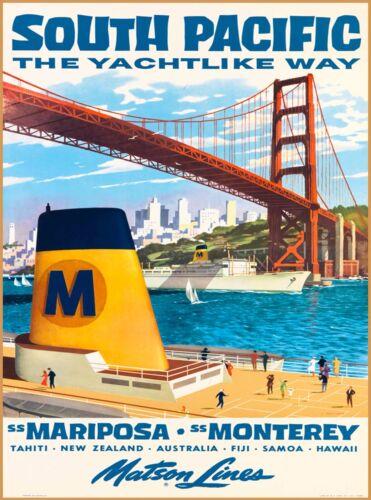 Matson Lines South Pacific Fiji Samoa Tahiti Hawaii Travel Advertisement Poster