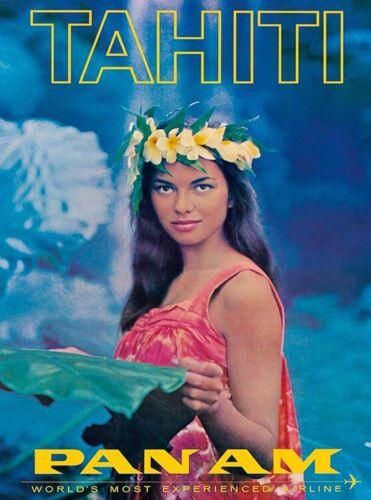 Tahiti Tahitian South Pacific Polynesia Pan Am Travel Airline Art Poster Print