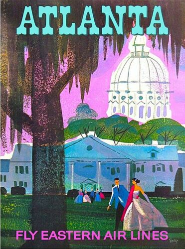 Atlanta Georgia Fly Eastern Air Lines Vintage Airline Travel Art Poster Print