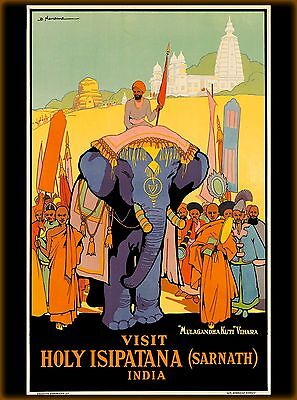 Visit Holy Isipatana (Sarnath) India Vintage Travel Advertisement Art Poster