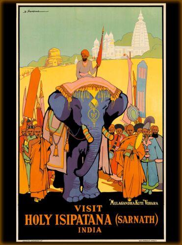 Visit Holy Isipatana (Sarnath) India Vintage Travel Advertisement Art Poster