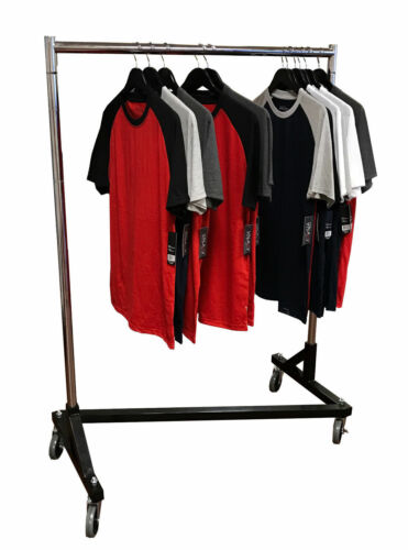 "Small 41"" Deluxe Adjustable Z Rack Garment Rack w/ Black Base & Chrome Uprights"