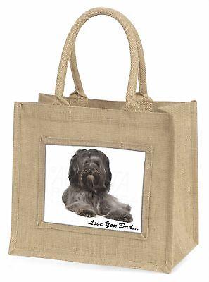 Tibetan Terrier Dog 'Love You Dad' Large Natural Jute Shopping Bag C, DAD-192BLN