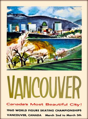 Vancouver Most Beautiful City Canada Canadian Vintage Travel Poster Print