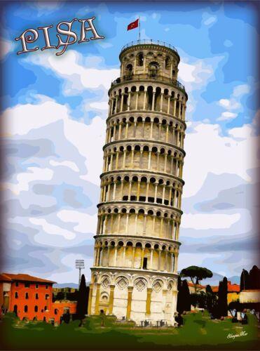 Pisa Tuscany Region  Italy Tower Italian Travel Advertisement Art Poster Print