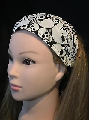Glow in the Dark Skulls Hair Head band Bandana Biker Gothic Ladies feeanddave