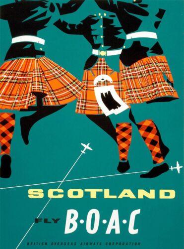 Scotland Fly B-O-A-C Great Britain Travel Advertisement Art Poster Print. UK