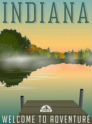 Indiana - Welcome to Adventure United States Retro Travel Art Poster Print