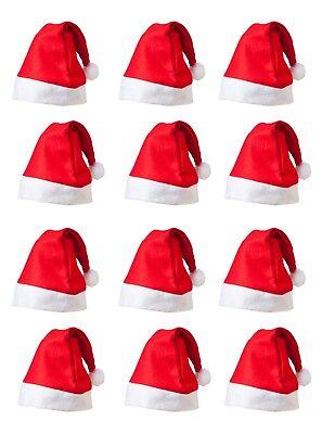 Bulk Buy Santa Hats Multi Buy Wholesale 3, 6, 12 Felt Red & White Christmas - Bulk Christmas Hats