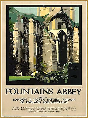 Fountains Abbey England Scotland Great Britain Travel Advertisement Poster