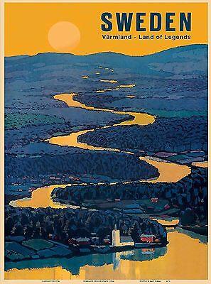 Sweden Land of Legends Scandinavia Vintage Swedish Travel Advertisement Poster