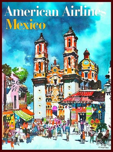 Mexico American Airlines Mexican Vintage Travel Advertisement Art Poster Print