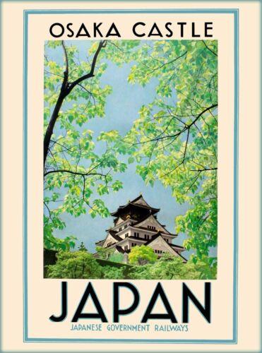 Osaka Castle Japan Japanese Vintage Asia Asian Travel Advertisement Poster