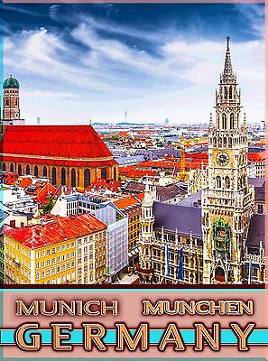 Munich München Bavaria Germany Vintage German Travel Advertisement Poster Print