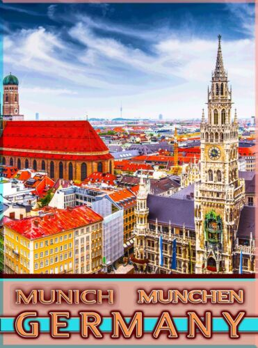 Munich München Bavaria Germany Vintage German Travel Advertisement Poster Print