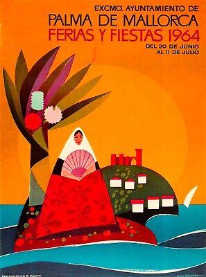 1964 Palma de Mallorca Balearic islands Spain Travel Advertisement Poster Print