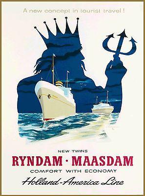 Holland - America Lines Dutch Netherlands Vintage Travel Advertisement Poster