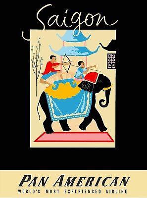 Saigon Vietnam Pan American Airlines Vintage Travel Advertisement Poster Print
