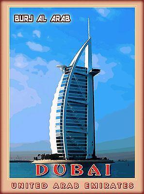 Dubai Burj al arab United Arab Emirates Arabian Travel Advertisement Art Poster