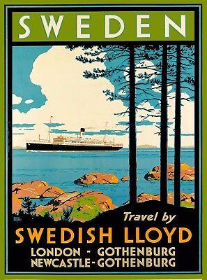 Sweden Swedish Lloyd Scandinavia Vintage Oceanliner Travel Art Poster Print