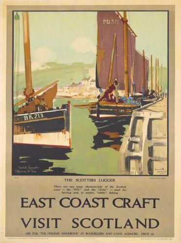 East Coast Craft Scotland Scottish Lugger Vintage Travel Advertisement Poster