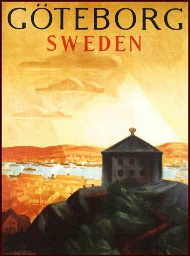 Gothenburg Sweden Swedish Scandinavia Vintage Travel Poster Art Print