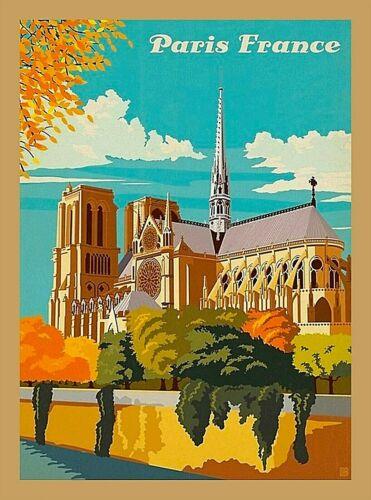 Notre Dame Cathedral Paris France Seine River Vintage Travel Art Poster Print