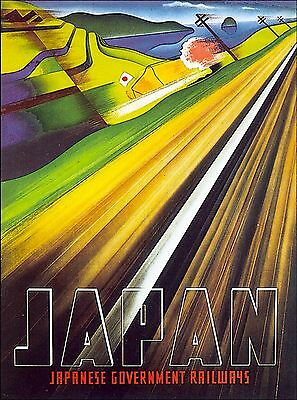 Japan Japanese Railways Freeway Vintage Asia Travel Advertisement Poster Print