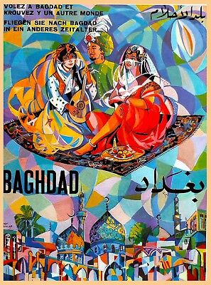 Fly To Baghdad Iraq Vintage Airline Airplane Travel Advertisement Art Poster