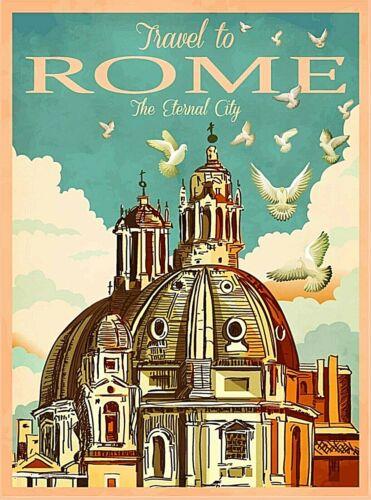 Travel to Rome Italy Eternal City  Retro Wall Decor Travel Art Poster Print