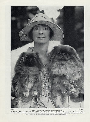 PEKINGESE LADY AND HER TWO NAMED CHAMPION DOGS OLD ORIGINAL 1934 DOG PRINT