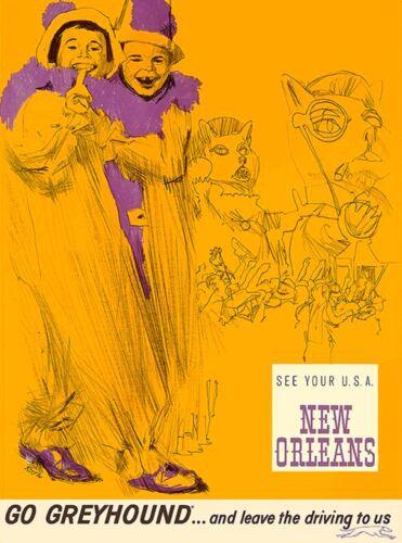 New Orleans Go Greyhound Vintage United States America Travel Art Poster Print