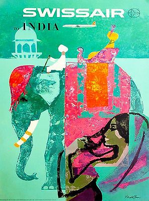 Swissair to India Elephant Southeast Asia Vintage Travel Airlines Poster Print