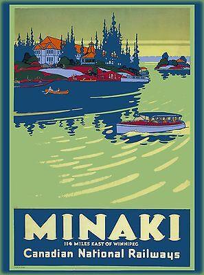 Minaki east of Winnipeg Canada Canadian Vintage Travel Advertisement Poster