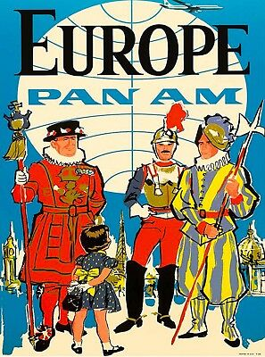 Europe Pan Am European Vintage Airline Airlines Airways Travel Art Poster Print