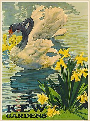 Kew Gardens London England Great Britain Vintage Travel Advertisement Poster