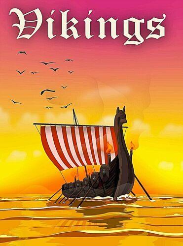 Viking Vikings Ship Scandinavia Retro Travel Advertisement Art Poster Print