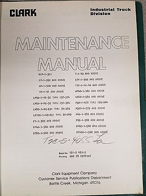Clark Forklift Powrworkers Maintenance Manual See Pictures No. 151-2 Rev. 2